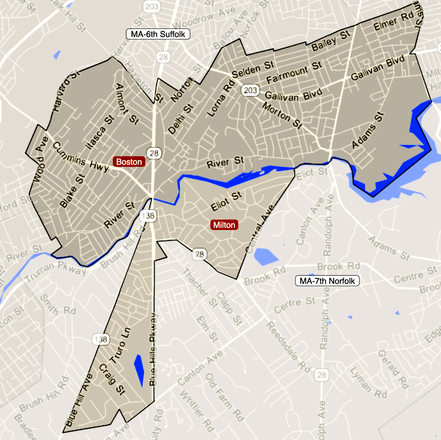 Map of the 12th Suffolk District